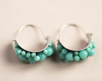 Aqua silver hoops antique glass beads silver hoops earrings