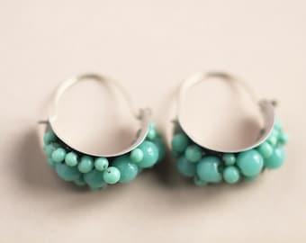 Aqua silver hoops antique glass beads silver hoops earrings