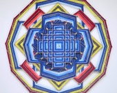 Love Song, a 30 inch Mandala, with a Tibetan mandala design overlayed on the center, by apprentice Inga Savage, FREE SHIPPING to USA
