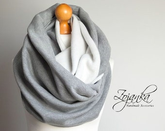 GRAY CHUNKY Infinity Scarf, infinity scarf, extra CHUNKY snood, winter scarf, cozy snood, sweatshirt jersey scarf, hooded scarf