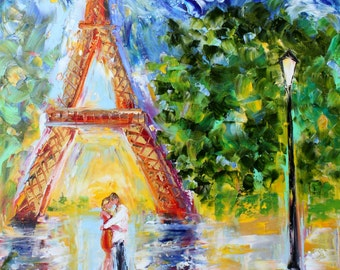 Original oil painting Paris Eiffel Tower Romance palette knife impressionism on canvas fine art by Karen Tarlton