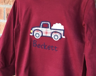 Vintage Truck with Snowballs Appliqué, Youth Long Sleeve Shirt Great for Winter and Christmas, Includes Name, Toddler or Infant Boys, Winter