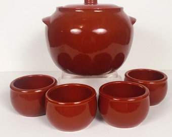 Vintage Deep Orange Pot with Serving Bowls