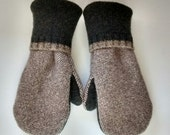 Etsy Men's Wool Mittens, pine green, tan, tweed, recycled sweaters, felted wool mittens, etsy sweater mittens