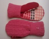Etsy mittens, kids mittens, fleece lined mittens, felted wool mittens, etsy sweater mittens, pink mittens, mittens buttons, mittens girl