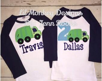 Birthday Boy Garbage Truck Themed Birthday Raglan Shirt: Birthday Boy- Garbage Truck- Raglan- Trucks- Garbage Truck Birthday