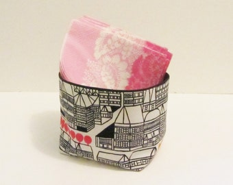 "Marimekko fabric basket, storage bin in Puisto-osasto ""Parks and Recreation"", authentic Marimekko fabric from Finland"