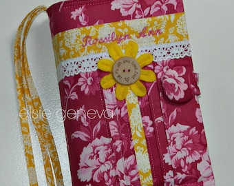 Pink and Yellow Bible Cover - Journal Cover - Personalized - Floral Roses and Hearts  - Made to Order