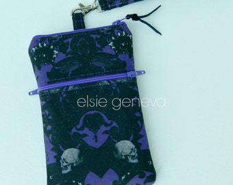 Skulls Phone Case with Wristlet and Optional Shoulder Strap - Black and Purple - Made to Order