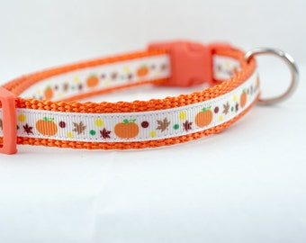 Pumpkin Dog Collar - Halloween Dog Collar- 5/8 or 3/4 inch wide - buckle adjustable collar - Fall dog collar - Orange dog collar - leaves