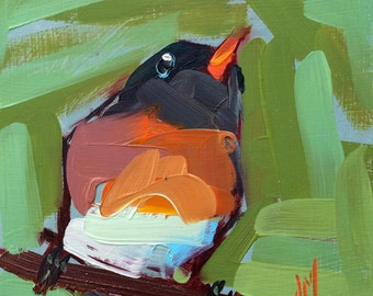 Robin no. 150 Original Bird Oil Painting by Angela Moulton 6 x 6 inch on Birch Plywood Panel