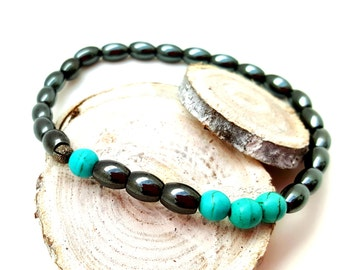 Mens Beaded Bracelet, Turquoise Bracelet, Teenage Boy Gift, Cute Gift for Boyfriend Him, Hematite Bracelet, Boyfriend Guy Gift, Gift for Dad