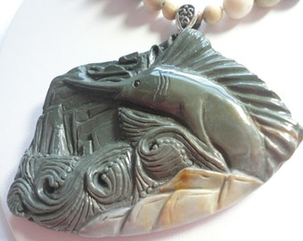 Sailfish Necklace Carved Freeform Succor Creek Jasper Swordfish Necklace In Ocean Waves in This Asymmetrical Necklace with Sterling