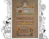 Mosey N Me Veggies Counted Cross Stitch Sampler Pattern 1993 Sunflowers Rabbit Garden