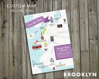 Custom Save the Date Wedding Map - JPress Designs, Brooklyn, Key West, modern wedding, letterpress, destination wedding, map, custom