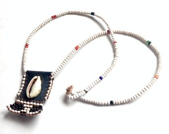 African Tribal Beaded Necklace with Pendant, Vintage African Necklace with Beaded Pendant, Black and White Bead and Cowrie Shell Necklace,
