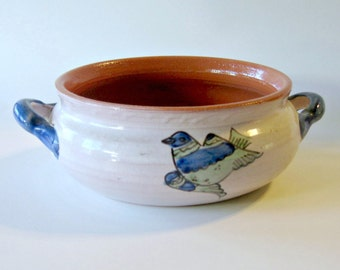 Hand Painted Bird Pottery, Bird Terracotta Dish, Vintage Handpainted Pottery, Glazed Terracotta Serving Dish, Decorative Vintage Bird Dish