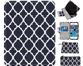 Navy Quatrefoil handmade nook case nook glowlight nook case nook cover nook glowlight case, simple touch case nook hd  nook hd cover nook