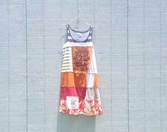 Born To Rock Upcycled Summer Tunics funky wearable Art beach knit recycled tunic plus size clothing by CreoleSha