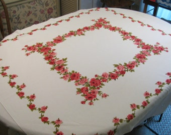 """Vintage Tablecloth w/ Lovely Pink and Red Roses - All Cotton - 44"""" by 54"""" - Possible Wilendur"""