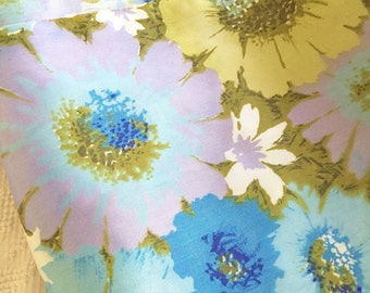 Fun and Funky Flower Power Vintage 1970's Fabric Mustard Yellow Blue Purple Floral