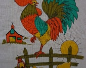 Vintage Tea Towel, Rooster and Chicks Motif, Farm Theme