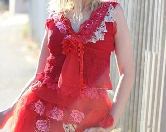 upcycled red silk fitted waist layered skirt altered couture vintage lace boho chic red gypsy skirt red ra ra skirt