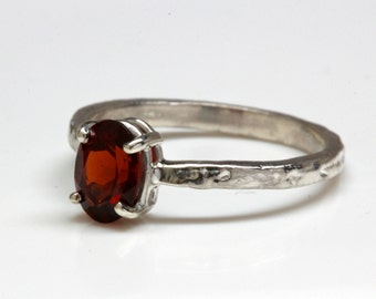 Silver Red Garnet Set Tree Bark Ring Made in NYC