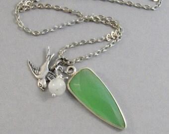 Breathe Mantra,Green Necklace,Peridot Necklace,Chalcedony Necklace,Moonstone Necklace,Boho Necklace,Crystal Healing,Crystal Necklace,Green