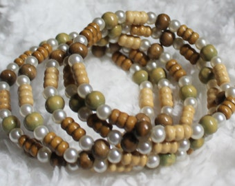 Lightweight wood and glass pearls Memory Wire Bracelet