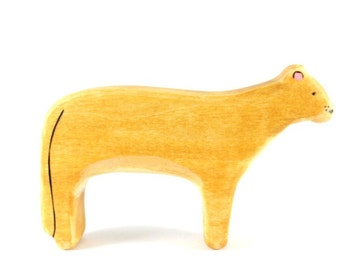 wood cat toy, mountain lion toy, wooden waldorf, wooden animal toy, wooden toys, vegan kids