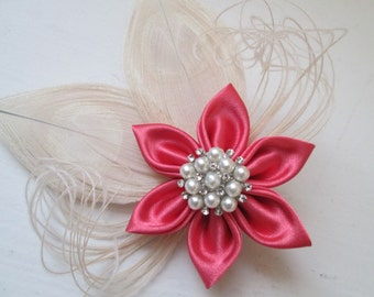 Coral Wedding Fascinator, Bridal Head Piece, Coral Pink & Champagne Hair Piece, Bridesmaid, Prom or Homecoming Hair Clip
