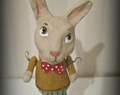 Rabbit - papier mache- folk art- handmade art doll- paper mache- ooak doll- spool
