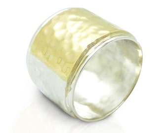 Wide silver & gold wedding ring