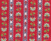 """Green And White Floral Motif ~ Navy Edge Stripes On Red Background Cotton Fabric ~ Remnant 16"""" x 19"""" ~ 4 Quilt Piecing Patchwork  # A 6 B"""