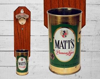 Wall Mounted Bottle Opener with Vintage Matt's Beer Can Cap Catcher - Matt Barware Christmas Gift