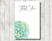 SUCCULENT DESIGN THANKYOU Card, Instant Download Thank you Card, Floral, Birthday, Bridal Shower, Kitchen Tea, Wedding, 6x4, Hens Night