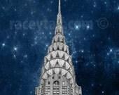 Chrysler Building, Stars, New York City Print, Navy Blue, Silver, New York Photography, NYC Art Deco
