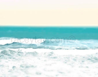 Ocean Photography, Pastel Beach Decor, Blue, Gold Yellow, Tropical Wall Art, Turquoise, Waves Print