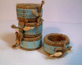 Nautical Lobster Pot Jute Napkin Rings Set of Four