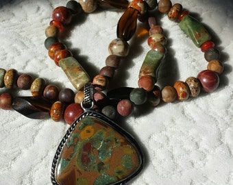 Artist designed Natural Stones Earthy colors long pendant necklace