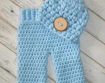 Baby Boy Hat and Pants Set-Newborn Pants and Hat-Baby Boy Hat-Baby Girl Hat-Newborn Hat,Infant Hat-Baby Beanie-Baby Boy Beanie-Newborn Pants