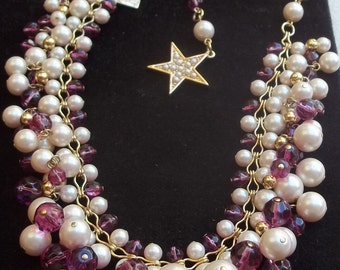 KATE SPADE Vintage Necklace Haute Couture Hot Pink Glass Beads & Pearls