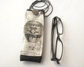 Balloon eyeglasses case with lanyard, black faux leather reading eyeglass holder or ecig case with pocket