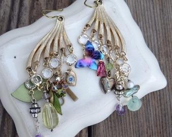 Handmade Chandelier Assemblage Dangle Earrings with Vintage Swarovski Channel Charm Earrings