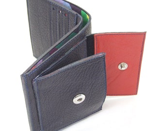 Blue leather wallet with 6 card slots, notes pocket and external coin pocket