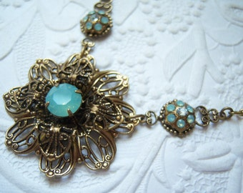 Swarovski pacific opal filigree flower necklace-GH742