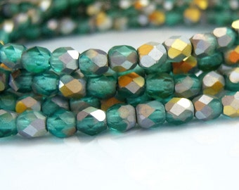Czech 4mm faceted round aquamarine AB matte fire polished beads, lot of (50) - UY96
