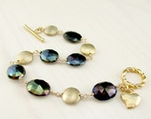 Mystic Spinel Bracelet, Black Spinel Gold Bracelet, Wire Wrapped Gold Fill Gemstone Bracelet, Brushed Vermeil, Simple Gold Bracelet Toggle