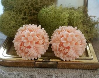 Large Bridal Plugs, Prom Plugs, Large Flower Plugs, Peach
